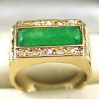 Emerald Green Jade Crystal Yellow Gold Plated Ring Size: 7.8.9