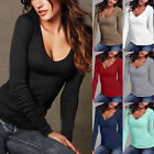 Fashion Women Lady Loose Long Sleeve Tops Blouse Shirt Casual Cotton T-Shirt New