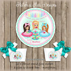 TEA PARTY XO BIRTHDAY PARTY PERSONALISED ROUND GLOSS STICKERS X12