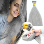 1g/s Pre-Bonded Stick I Tip Double Drawn Remy Human Hair Extensions Silver Gray
