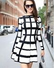 Mini abito vestito bianco nero maxi quadri Casual black white maxi plaid dress