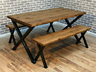 Brinkley X frame Industrial Reclaimed Dining Table 120 x 80 cm 4 seater Brown