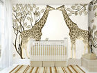 3D Two Kissing Giraffes 52 Wallpaper Decal Dercor Home Kids Nursery Mural  Home