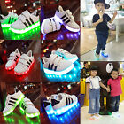 US Child Baby USB Charger Luminous LED Lights Lace UP Casual Sneakers Shoes
