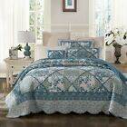 Tache Cottage Cotton Floral Patchwork Blue Quilted Quilt Bedspread Coverlet Set image
