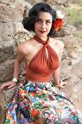 50s Style RUST Infinity Wrap Marilyn PINUP HALTER Crop Top -Endless Ways 2 Wear