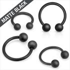 16g Or 14g Matte Black IP Horseshoe 316L Surgical Steel Tragus Ear Nipple Lip