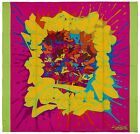 Authentic Hermes Silk Scarf GRAFF HERMES Bright Pink Neon Green Graffiti