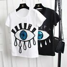 Fashion Womens Eyes Sequins Casual Cotton Short Sleeve Round Neck Blouse T-Shirt