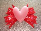 """2"""" Mini Boutique Dog Bow~Valentine's Day~Red w/ Pink Heart~Girl~Yorkie Maltese"""