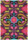 Modern Scroll Rug Multi Coloured Funky Eclectic Vibrant Blue Pink Purple Green