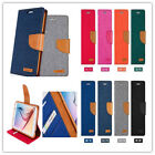 Canvas PU Leather Wallet Flip Card Case for  iphone 5 / 5S - Denim Blue
