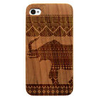 Laser Engraved Wood Phone Case - Elephant African Pattern