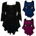 Womens Lady Blouse Lace Up Bell Sleeves Shirts Lolita Pleated Casual Loose Tops