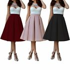 New Vintage Women  High Waist Skater Flared Pleated Swing Skirt Dress #049