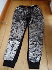QED LONDON BLACK SILVER SEQUIN FRONT JOGGING TRACKSUIT BOTTOMS BLING S M L BNWT