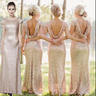 New Champagne sequin Cowl back Long Formal prom ball Evening bridesmaids' dress