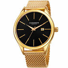 Wristwatches - Mens Akribos XXIV AK959 Quartz Sunray Dial Date Stainless Steel Mesh Watch