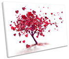 Red Heart Love Tree Abstract CANVAS WALL ART Picture Print Single