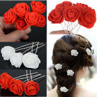 12 pcs Red & White Rose Flower Hair Pins Clips Wedding Bridal Bridesmaid Party