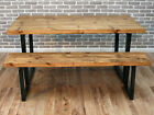 Lewis U frame Industrial Reclaimed Sawn Wood Dining Table 220 x 80 cm 10 seater
