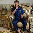 Home Clothes Blue Silk Blend 2pcs Man's Pajama Sets Short Sleeves L/XL/2XL/3XL