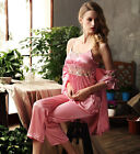 Gorgegous Silk Blend 3pcs Girls' Lace Sling Bed Gown/ Pajama Sets S/M/L/XL/2XL