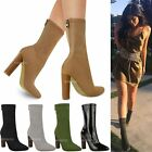 Womens Ladies Smart Ankle Boots Block Heel Stretchy Pull On Chelsea Shoes Size