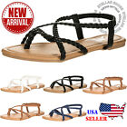 NEW Womens Braided Strappy Gladiator Flat Sandal Y-Strap Thing Flip Flop Sandals