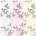 Fine Decor Sparkle Glitter Birds Wallpaper 10m 3 Colours