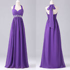 Purple Halter Chiffon Long Ball Gown Evening Party Wedding Bridesmaid Dress New
