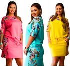 New Womens Spring Vitality Floral Loose Evening Cocktail Short Dress Plus Size