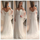 Spaghetti Chiffon Wedding Dresses Beach Bridal Gown Custom 2 4 6 8 10 12 14 16+