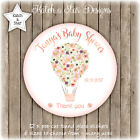 FLORAL HOT AIR BALLOON BABY SHOWER PERSONALISED ROUND GLOSS STICKERS X12