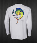 Men's White Dotted Mahi Performance Fishing Shirts