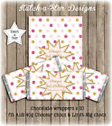 PINK GOLD DK PINK POLKA DOTS BIRTHDAY PARTY PERSONALISED CHOCOLATE WRAPPERS X 10