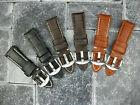 24mm Black Grain Leather Strap Tang Buckle Watch Band Large XL Pam 1950 Brown