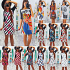 Women Floral Printed Short Mini Dress Bodycon A-Line Evening Party Clubwear Tops