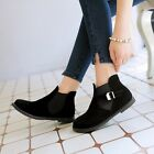 Casual Womens Nubuck Leather Belt-Buckles Round Toe Ankle Simple Boots 4 Colors