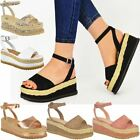 New Womens Ladies Chunky Espadrille Strappy Sandals Flatform Wedge Shoes Size