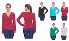 MARYCRAFTS WOMENS V NECK LONG SLEEVE FAUX WRAP BLOUSE TOP PULLOVER A11756