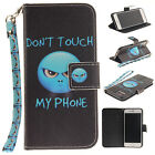 Wristlet Magnet Leather Painted Wallet Card Case Flip Cover For iPhone 7 7 Plus