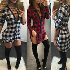 Women Plaid Shirt Dress Casual Long Sleeve Clubwear Tunic Party Cocktail Evening