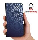 RFID Protected Blue Vintage PU Leather Phone Wallet Case Cover Samsung Galaxy