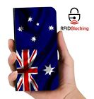 RFID Protected Australian Flag PU Leather Wallet Custom Case for Apple iPhone
