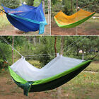 WOO Portable Outdoor Swing Bed Parachute w/ Mosquito Net Travel Camping Hammock