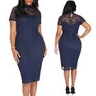 New Womens Plus Size Lace Lined Bodycon Short Sleeve Ladies Bodycon Midi Dress