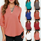 New Women's V-neck Long Sleeve Blouse Chiffon Casual Shirt Tops Loose Blouse