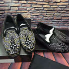 Men Loafers Dress Round Toe Business Pumps Rhinestones Slip On Nightclub Shoes