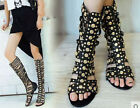 Leather Boot Woman Hollow Out Party Metal Gladiator Sandal Ankle Knee High Shoes